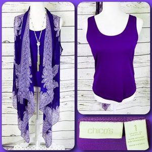 Chico's Purple Paisley Sleeveless Kimono & Tank